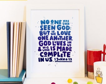 God is love, Love One Another, God Lives In Us, Scripture Art, Will of God, Love Quote, Wall Decor, Bible Scripture, Modern Christian Art