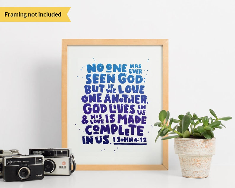 God is love  Bible verse wall art gift  Cobalt blue scripture lettering   Christian housewarming gift, love quote nursery kids room poster