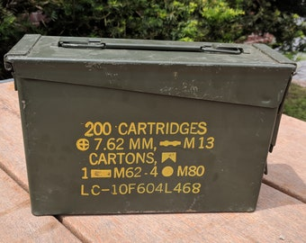 30 Cal Ammo Can Army Military M19A1 Metal Storage Box 7.62 MM