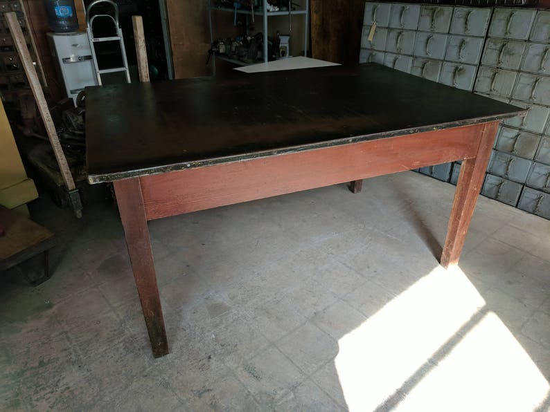 Post Office Work Table Oak With Steel Top