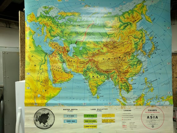 Crams Physical Political Map Of Asia 11 Etsy