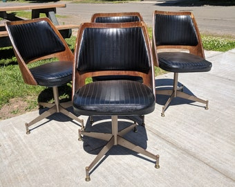 Mid Century Modern B. Brody Danish Walnut Bentwood Barrel Swivel Dining Chair set of 4