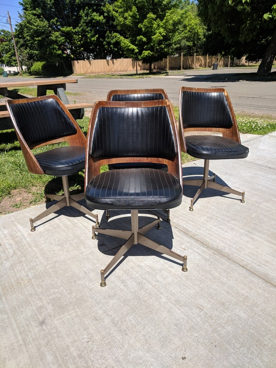 Pleasing Mid Century Modern B Brody Danish Walnut Bentwood Barrel Swivel Dining Chair Set Of 4 Gmtry Best Dining Table And Chair Ideas Images Gmtryco