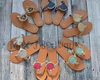 Monogrammed Disk Sandals - Personalized Interchangable Disc Sandals - Ladies Medallion Shoes