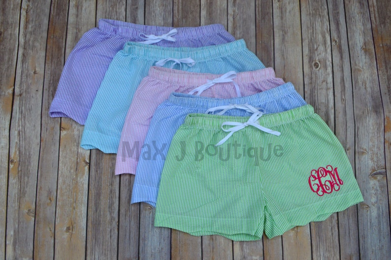 Monogrammed Seersucker Shorts Pink   Personalized scalloped image 0