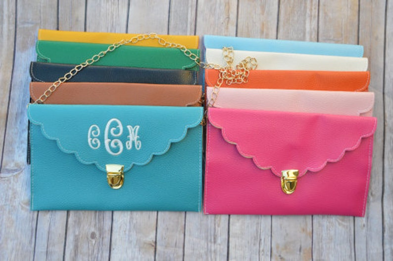 Monogrammed Scalloped Envelope Purse  Personalized Clutch  image 0
