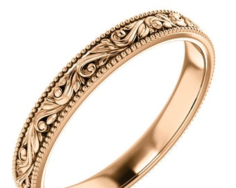 Sculpted Wedding Band Millegrain Ring Rose Gold Victorian Ring Wedding Band Unique Wedding Ring Floral Engraved Band Antique style Engraved