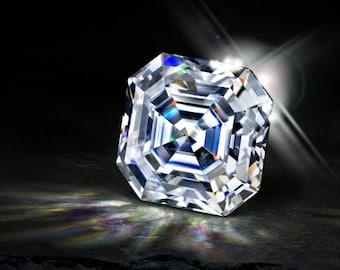 SUPERNOVA ASSCHER Moissanite Loose Gemstones Colorless Asscher Moissanite Large Sizes Asscher Moissanite Engagement Ring