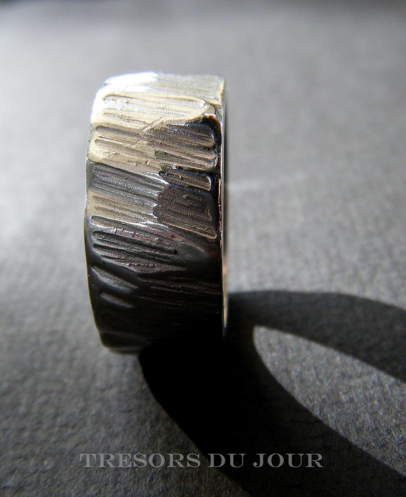 Unique Mens Ring /'Beauregard/' Textured Sterling Silver Ring Large Mens Handmade Silver Ring Bark Ring Unisex Ring Textured Silver Size 11