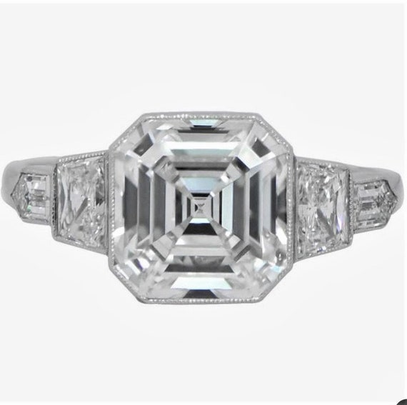 Vintage Engagement Ring Asscher Cut Edwardian Inspired 14k Etsy