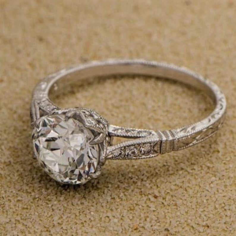 Edwardian Engagement Ring \u0027Gabrielle\u0027 Diamond accented hand engraved  millegrain Edwardian RING custom ring Vintage Ring Diamond Platinum