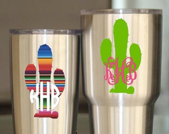 Cactus Decal | Serape Cactus Decal | Mexican Blanket Cactus | Cinco De Mayo Decal | Cactus Yeti Decal | Cactus Tumbler Decal | Fiesta Decal