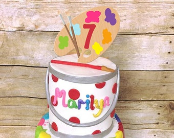 Paint Party Cake Topper Palette Art Painting Artist