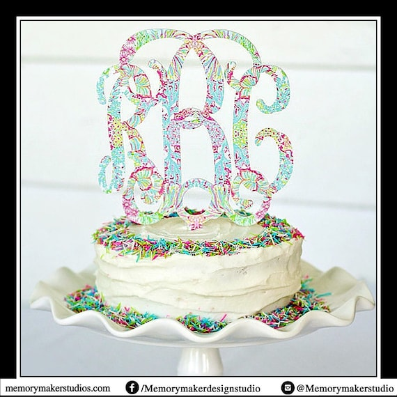 Coral Print 6 Inch Monogram Cake Topper Made Out Of Durable