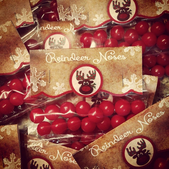 Christmas Treats For School Parties.Reindeer Noses Bag Topper For Your Holiday Parties Print Your Own Instant Download Whimsical Christmas Treat School Party Treat Topper
