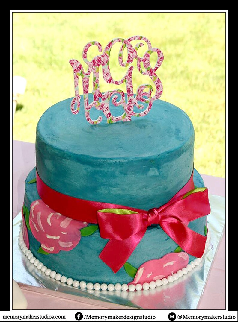 Rose Print Inspired 6 Inch Monogram Cake Topper Made