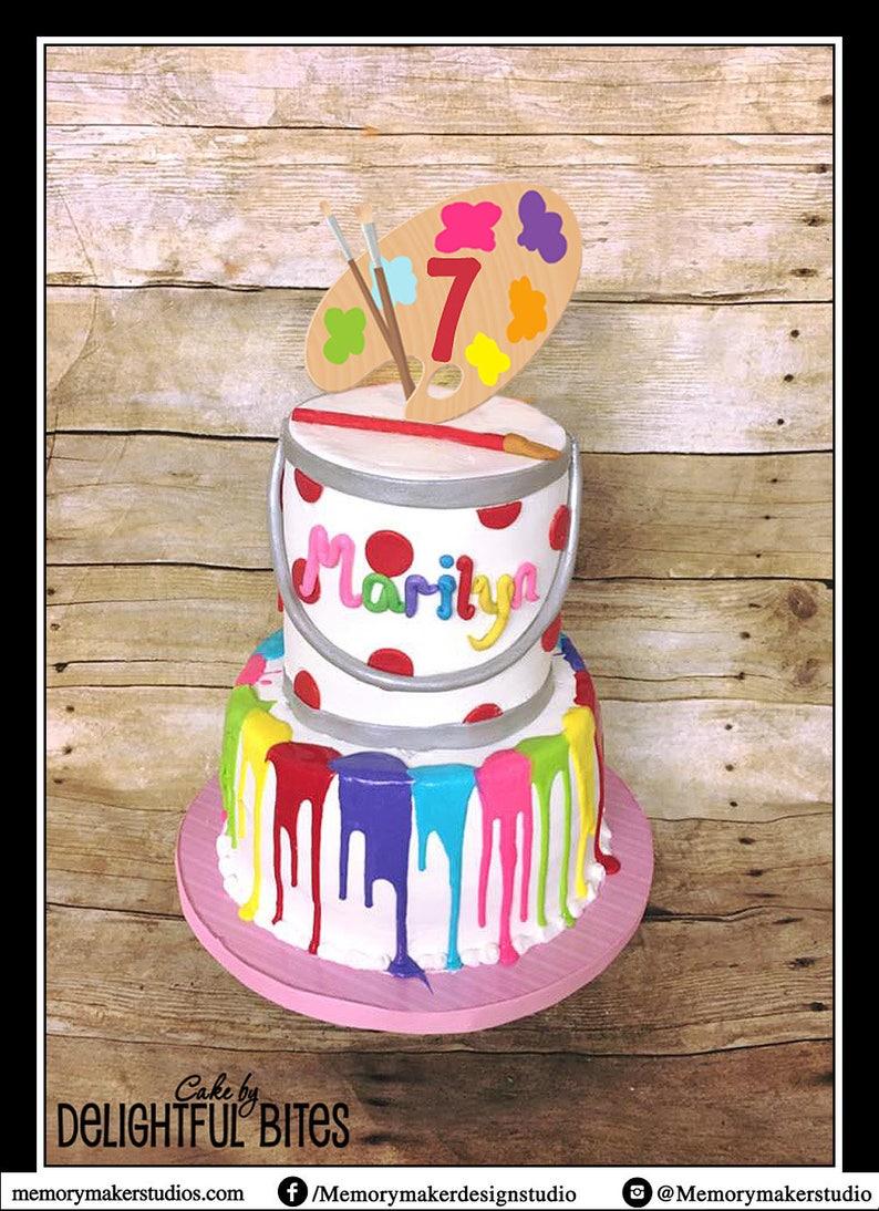 Paint Party Cake Topper Palette Art