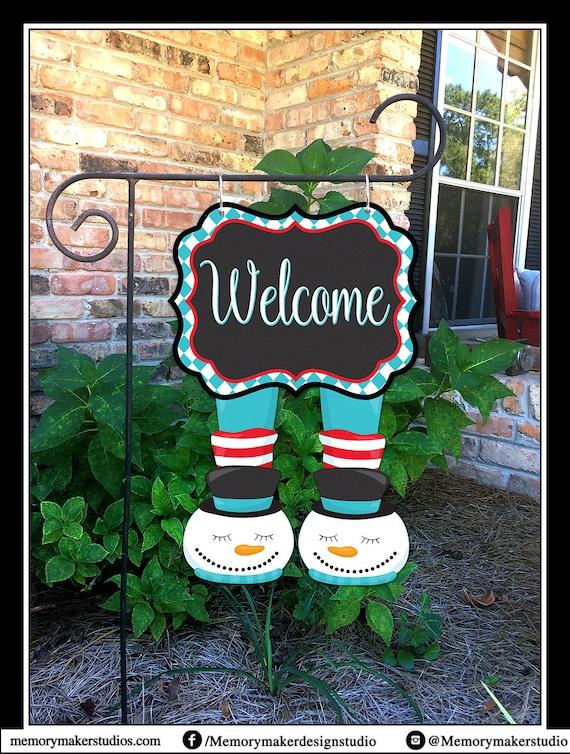 Welcome Garden Flag Snowman Winter Garden Flag Winter Yard | Etsy