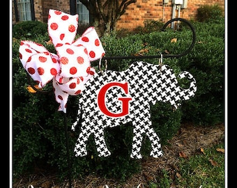 Alabama Houndstooth Elephant Lawn And Garden Flag, Houndstooth Garden Flag,  Houndstooth Yard Flag,