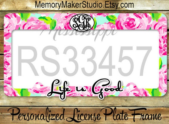 Rose Print Car Tag Frame Monogrammed License Plate Frame | Etsy