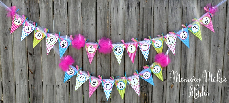 Chevron and Polka Dots Printable Happy Birthday Banner Printable birthday banner Print Your Own Birthday Banner INSTANT DOWNLOAD!!