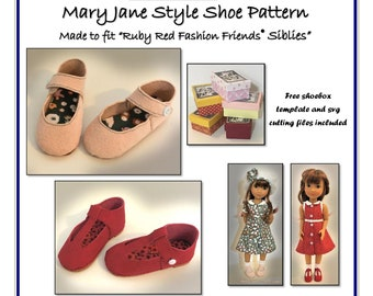 """Mary Jane Shoe Pattern made to fit 12"""" dolls such as Ruby Red Fashion Friends® """"Siblies"""""""
