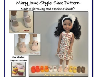 """Mary Jane Shoe Pattern made to fit 14.5"""" - 15"""" dolls such as Ruby Red Fashion Friends®"""
