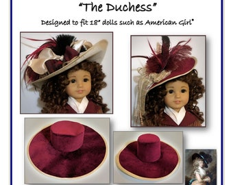 """The DUCHESS - Gainsborough Style Hat patterns designed to fit 18"""" dolls such as American Girl®"""