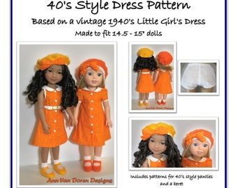 """Forties Style Doll Dress Pattern for 14.5 - 15"""" dolls such as Ruby Red Fashion Friends® and Wellie Wishers®"""