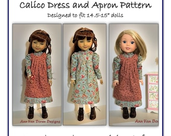 """PDF Pattern for Edwardian style Dress and Apron Designed to fit 14.5 - 15"""" dolls such as Ruby Red Fashion Friends® or WellieWishers®"""