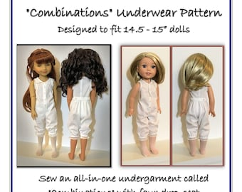 """PDF Pattern for Victorian style Combinations Underwear Designed to fit 14.5-15"""" dolls such as Ruby Red Fashion Friends®"""