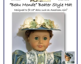 """Boater Style Late Victorian Hat pattern designed to fit 18"""" dolls such as American Girl®"""