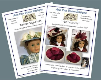 """COMBO Patterns - Boater Style Hat and The DUCHESS - Gainsborough Style Hat patterns for 18"""" dolls such as American Girl®"""