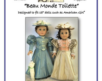 """Beau Monde Toilette Late Victorian Outfit pattern designed to fit 18"""" dolls such as American Girl®"""