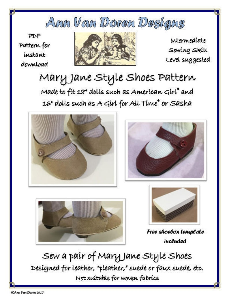 3234fbac71ecf COMBO: Mary Jane Shoe pattern made to fit Slim 16