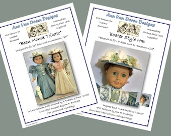 COMBO PDF Patterns for Beau Monde Toilette AND Boater Style Hat  Designed to fit 18 inch dolls such as American Girl®