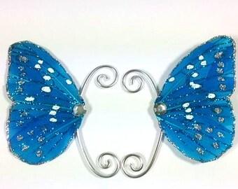 Blue Silver Fairy Earwings Ear Wings Earcuffs Fairy Wings Butterfly Wings Costume Wings Blue Glitter Fairy Ears