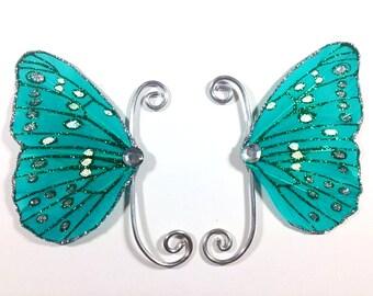 Blue Green Fairy Earwings Ear Wings Earcuffs Fairy Wings Butterfly Wings Costume Wings