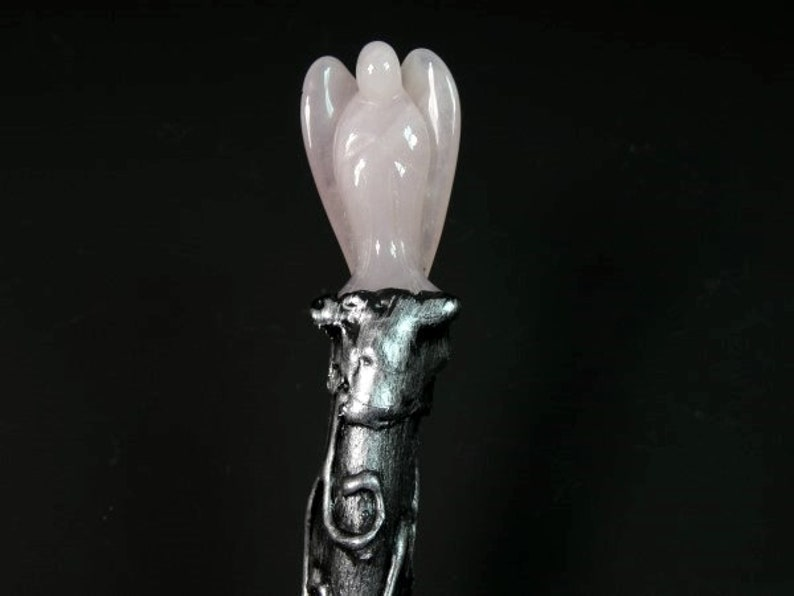 Pink Wicca Magic Wand 12.2 Inches Rose Quartz Angel Wizard Wand Fairy Wand Witch Costume Wand Witch Wand Godmother Gift