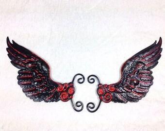 Black Red Gothic Ear Wings Earwings Earcuffs Black Fairy Wings Butterfly Wings Costume Wings Cosplay Wings
