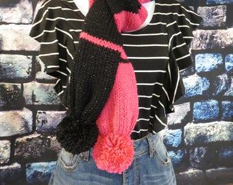 Pink & Black knit scarf with pom-poms