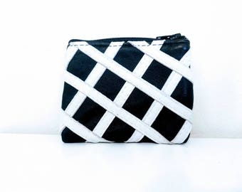 Small Black & White Striped Recycled Leather Change Purse Pouch Wallet Gift Bag Boho Hippie Upcycled Leather
