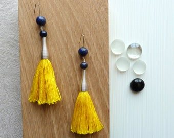 Brass ring, blue gemstones and yellow cotton tassel earrings / colorful / original / woman