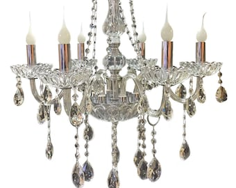 Candle chandelier etsy royal designs classic vintage style crystal candle chandelier pendant ceiling fixture aloadofball Image collections