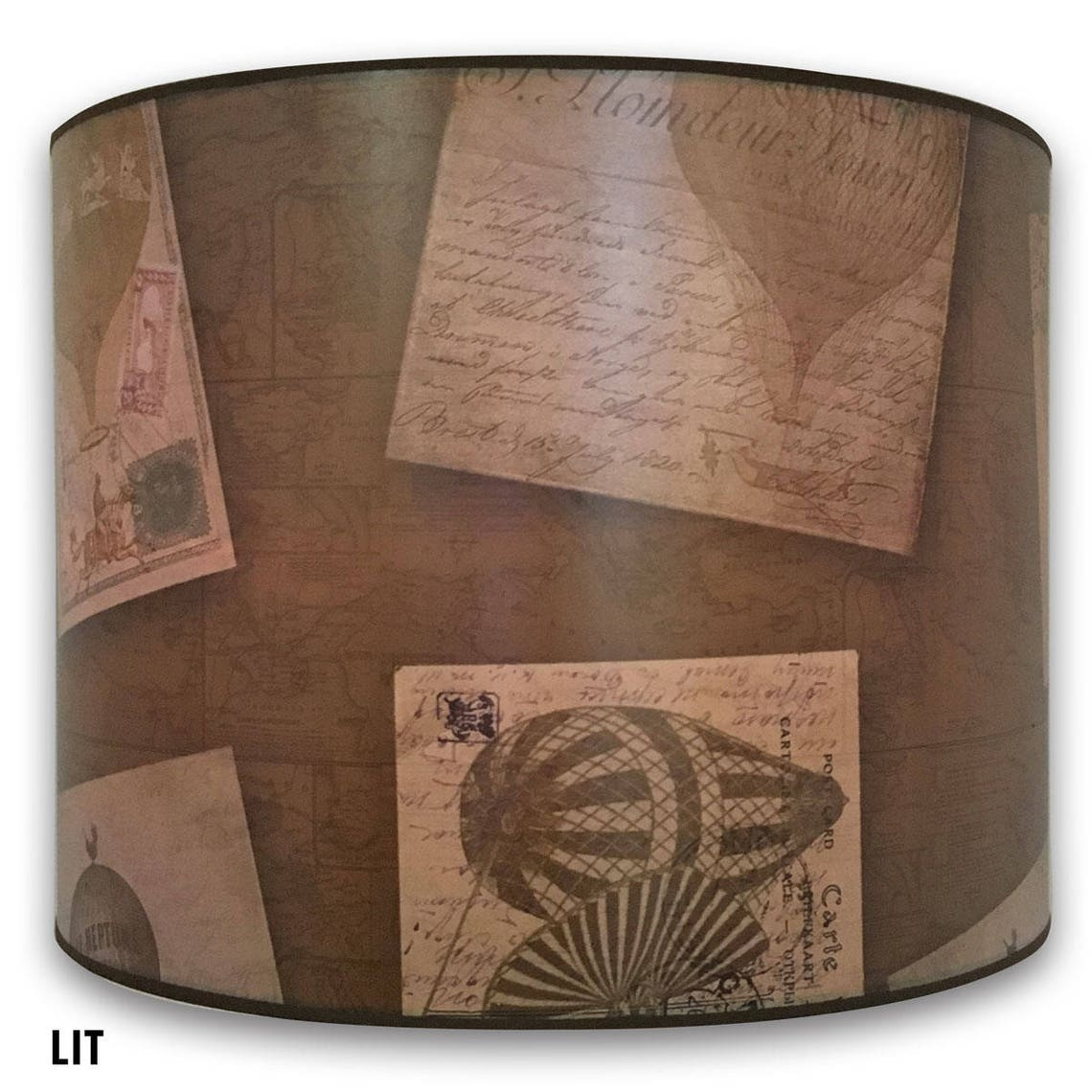 Royal Designs Decorative Lamp Shade - Made in USA - Vintage Post Card Design - Eclairage
