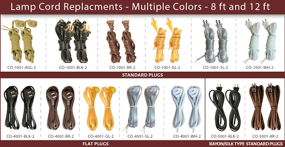 Royal Designs Replacement Lamp Cord, Replacement Lamp Cord With Flat Plug