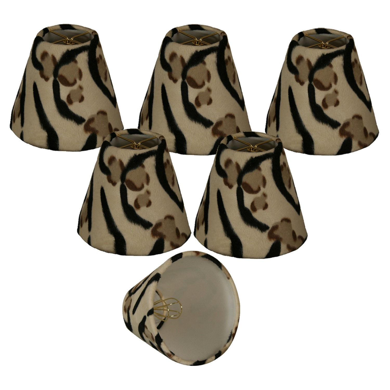 "6"" Brown Black & Beige Cowhide Chandelier Lampshade - 3 x 6 x 4.5 (double clip) (CS-963-6-6)"