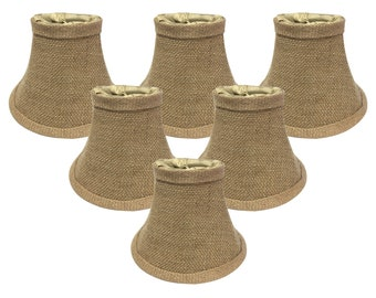 "Royal Designs True Bell Burlap Chandelier Lamp Shade, 3"" x 6"" x 4.5"", Clip On"