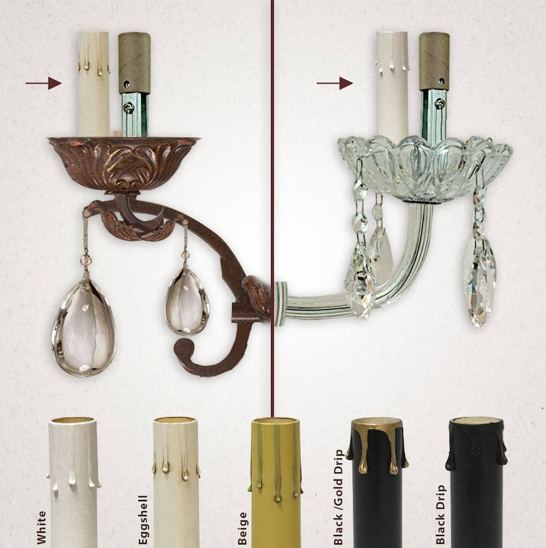 Royal Designs 4 Eggshell Candle Drip Chandelier Socket Covers Paper Insulation