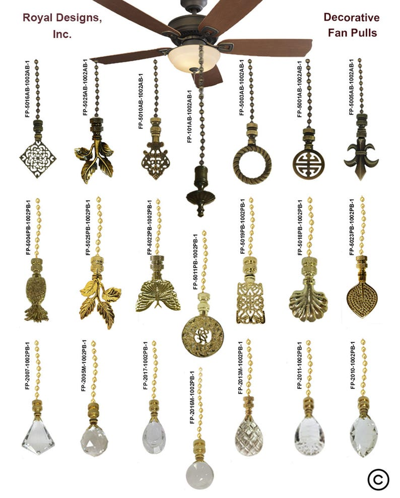 Royal Designs Fan Pull Chain with Trendy Resort Pineapple Finial \u2013 Polished Brass